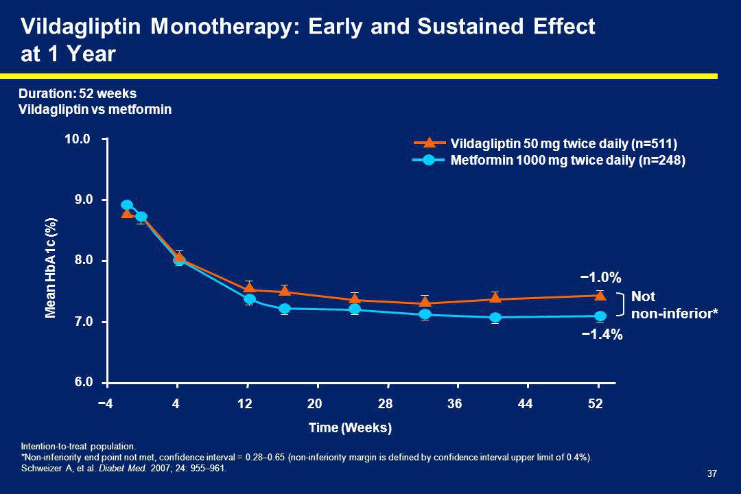 Vildagliptin Monotherapy: Early and Sustained Effect at 1 Year