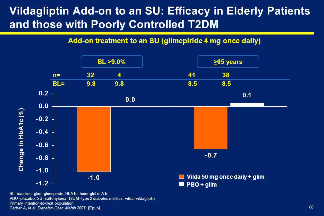 Vildagliptin Add-on to an SU: Efficacy in Elderly Patients and those with Poorly Controlled T2DM