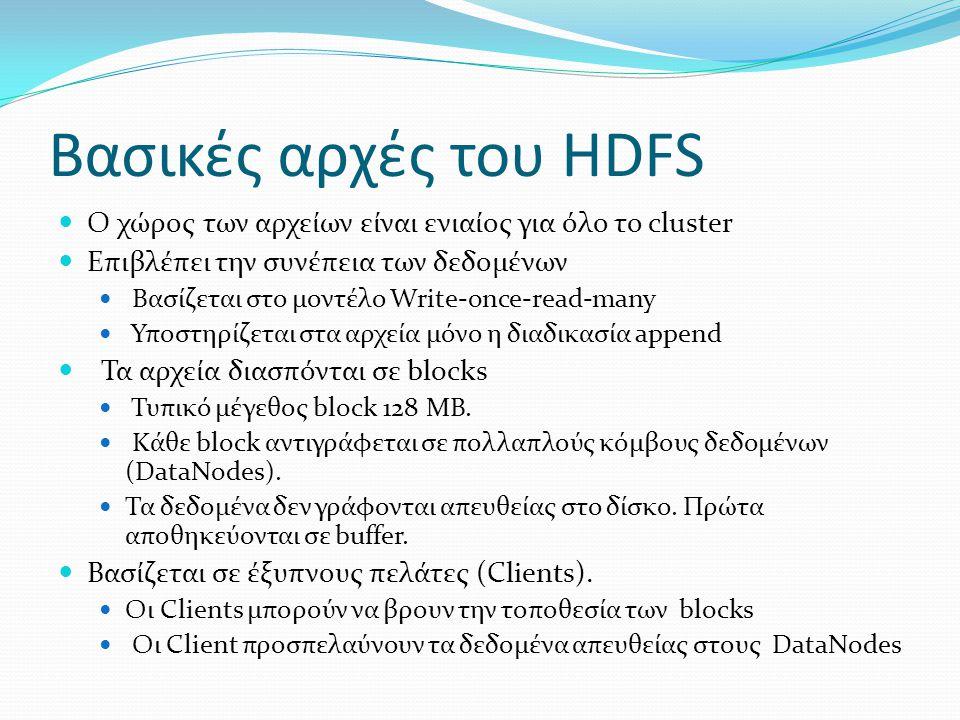Βασικές αρχές του HDFS Ο χώρος των αρχείων είναι ενιαίος για όλο το cluster. Επιβλέπει την συνέπεια των δεδομένων.