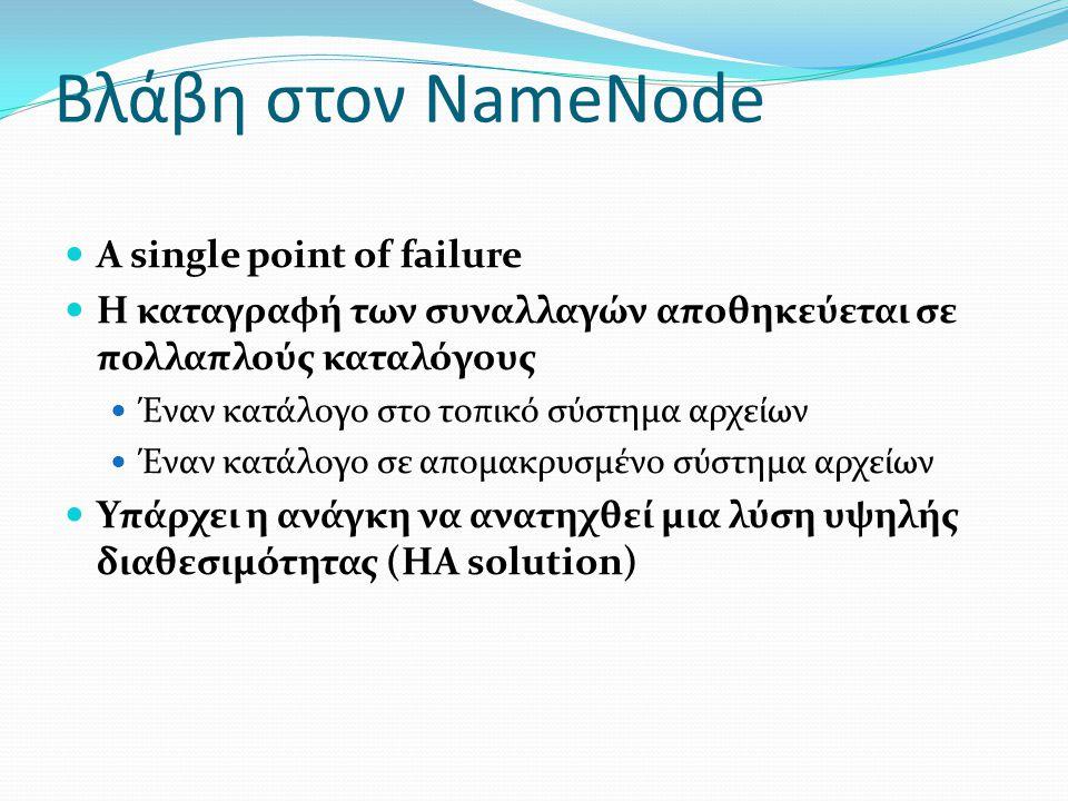 Βλάβη στον NameNode A single point of failure
