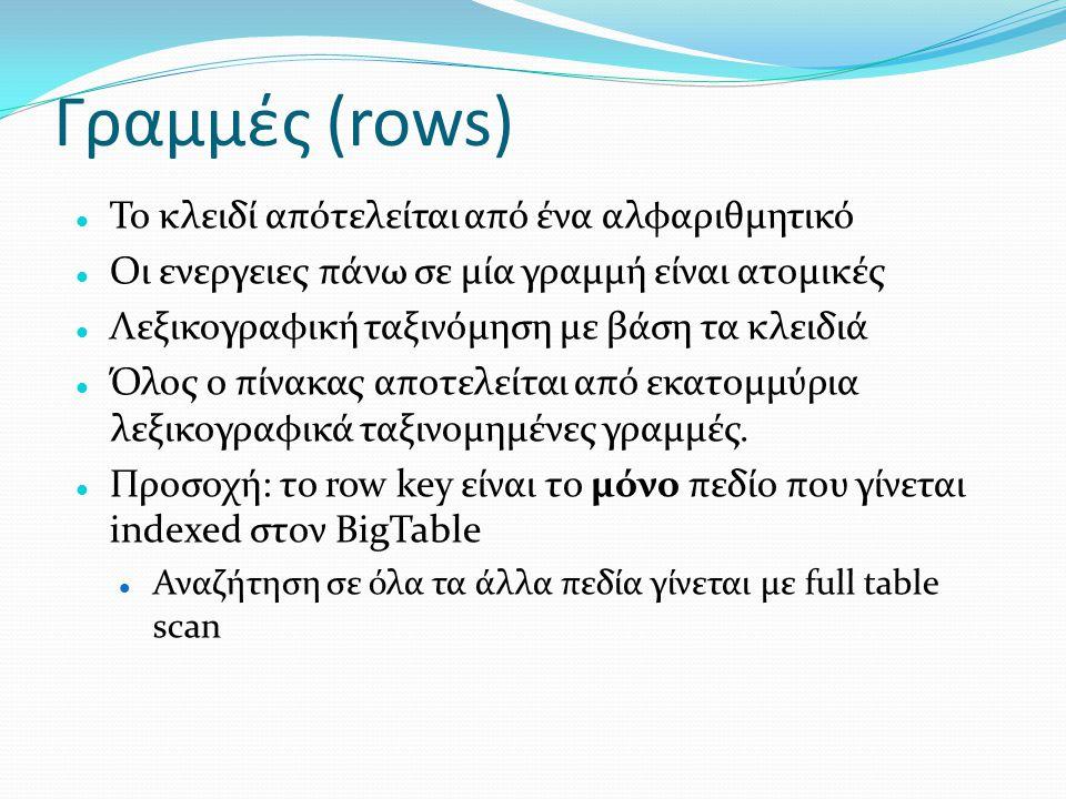 Γραμμές (rows) Το κλειδί απότελείται από ένα αλφαριθμητικό