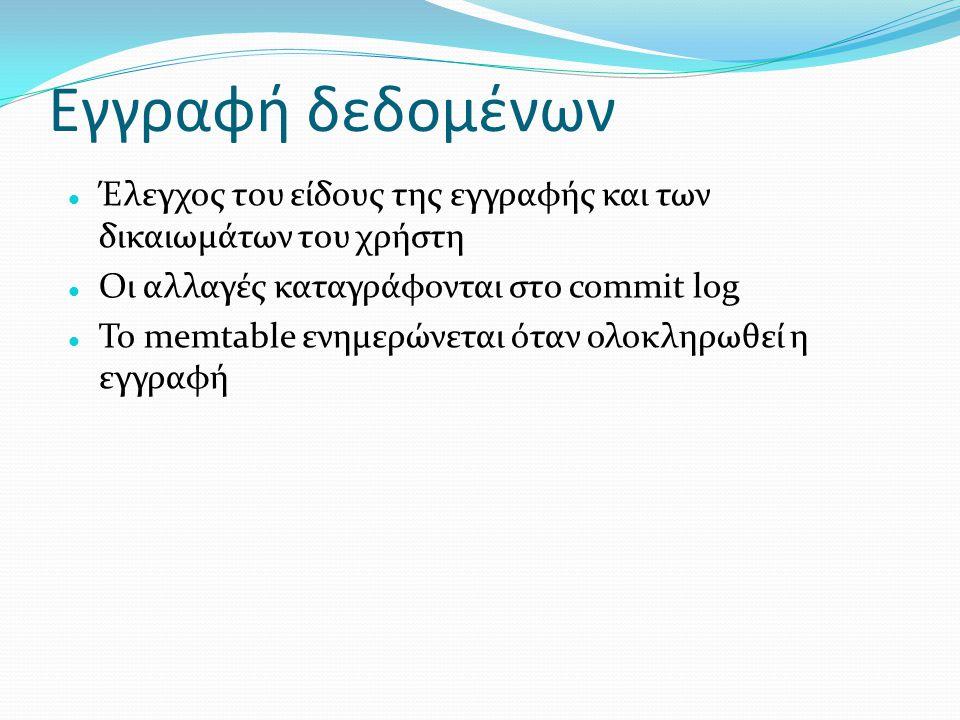 Εγγραφή δεδομένων Έλεγχος του είδους της εγγραφής και των δικαιωμάτων του χρήστη. Οι αλλαγές καταγράφονται στο commit log.