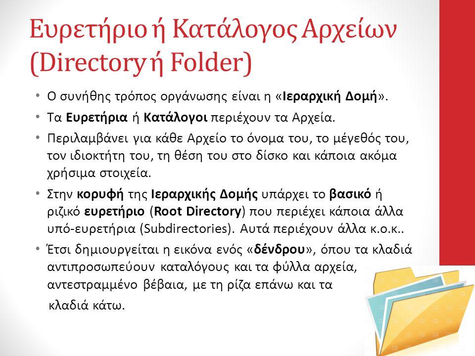 Ευρετήριο ή Κατάλογος Αρχείων (Directory ή Folder)