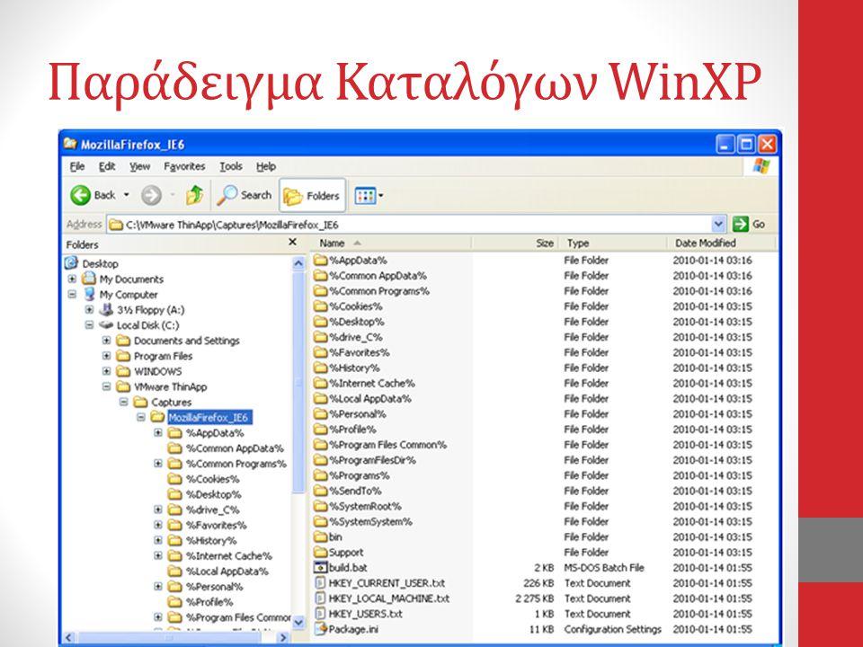 Παράδειγμα Καταλόγων WinXP