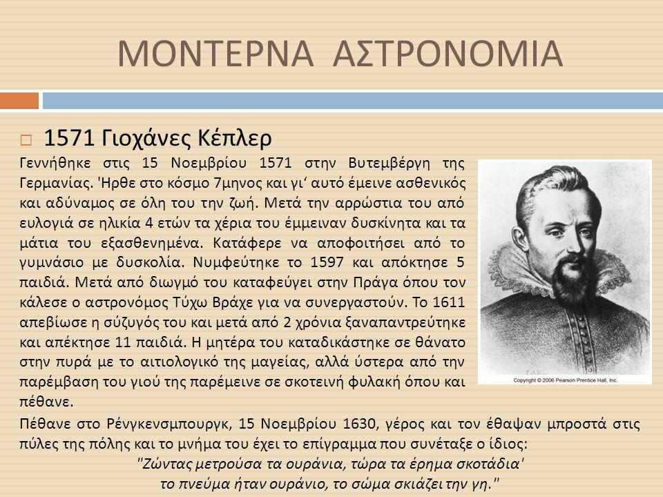 ΜΟΝΤΕΡΝΑ ΑΣΤΡΟΝΟΜΙΑ 1571 Γιοχάνες Κέπλερ