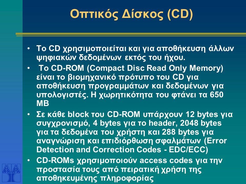 Οπτικός Δίσκος (CD) Το CD χρησιμοποιείται και για αποθήκευση άλλων ψηφιακών δεδομένων εκτός του ήχου.