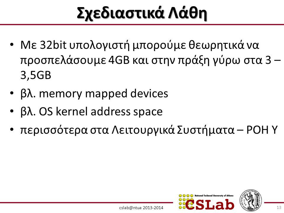 Σχεδιαστικά Λάθη Με 32bit υπολογιστή μπορούμε θεωρητικά να προσπελάσουμε 4GB και στην πράξη γύρω στα 3 – 3,5GB.