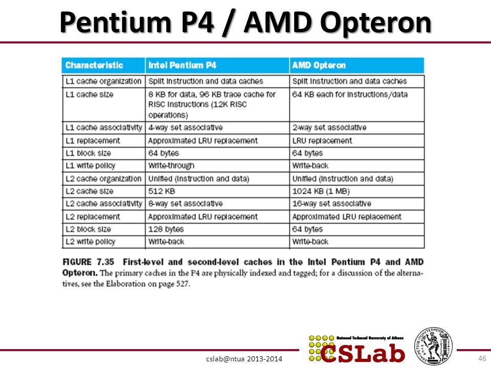 Pentium P4 / AMD Opteron cslab@ntua 2013-2014