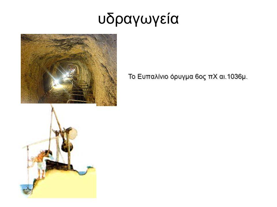υδραγωγεία Το Ευπαλίνιο όρυγμα 6ος πΧ αι.1036μ.