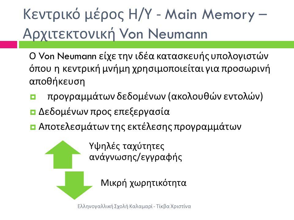 Κεντρικό μέρος Η/Υ - Main Memory –Αρχιτεκτονική Von Neumann