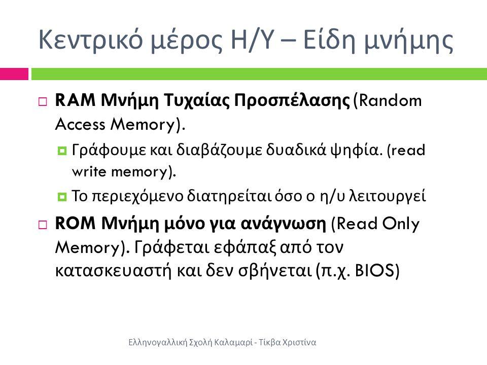 Κεντρικό μέρος Η/Υ – Είδη μνήμης