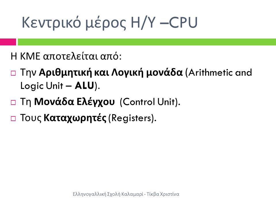 Κεντρικό μέρος Η/Υ –CPU