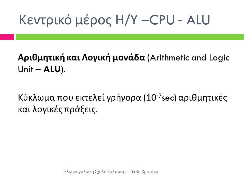 Κεντρικό μέρος Η/Υ –CPU - ALU