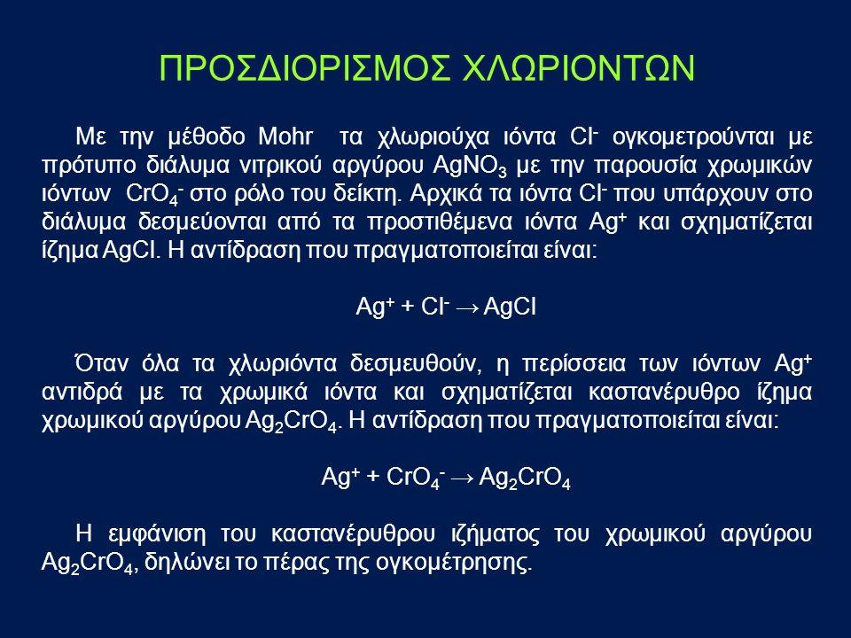 ΠΡΟΣΔΙΟΡΙΣΜΟΣ ΧΛΩΡΙΟΝΤΩΝ