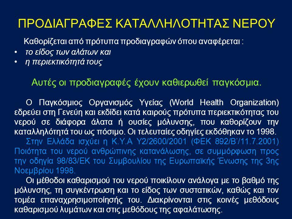 ΠΡΟΔΙΑΓΡΑΦΕΣ ΚΑΤΑΛΛΗΛΟΤΗΤΑΣ ΝΕΡΟΥ