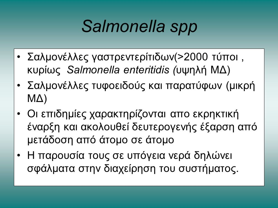 Salmonella spp Σαλμονέλλες γαστρεντερίτιδων(>2000 τύποι , κυρίως Salmonella enteritidis (υψηλή ΜΔ)