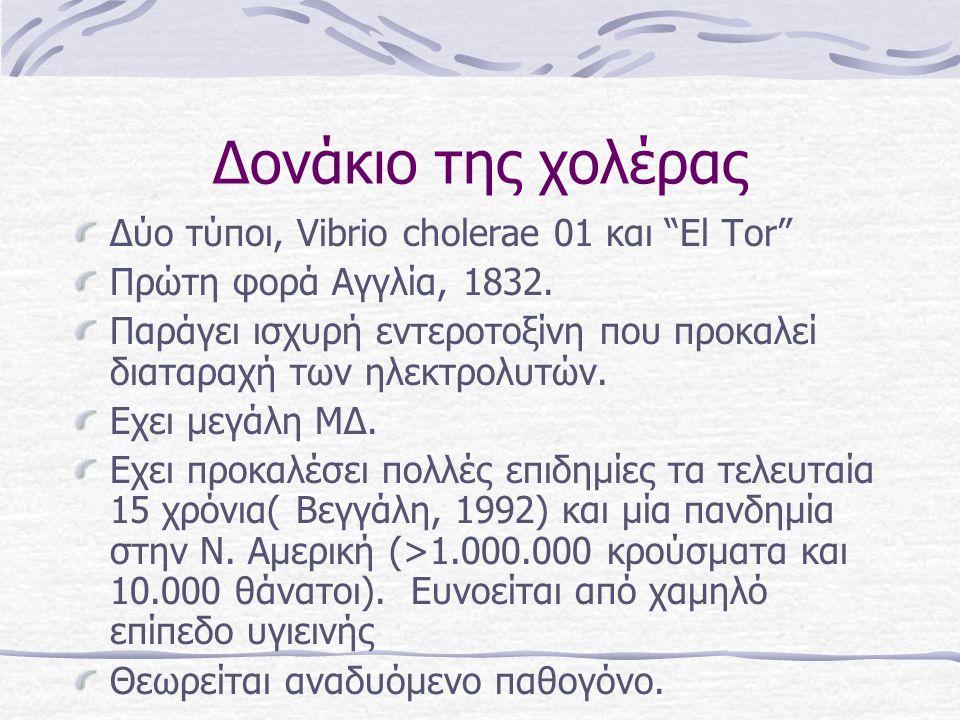 Δονάκιο της χολέρας Δύο τύποι, Vibrio cholerae 01 και El Tor