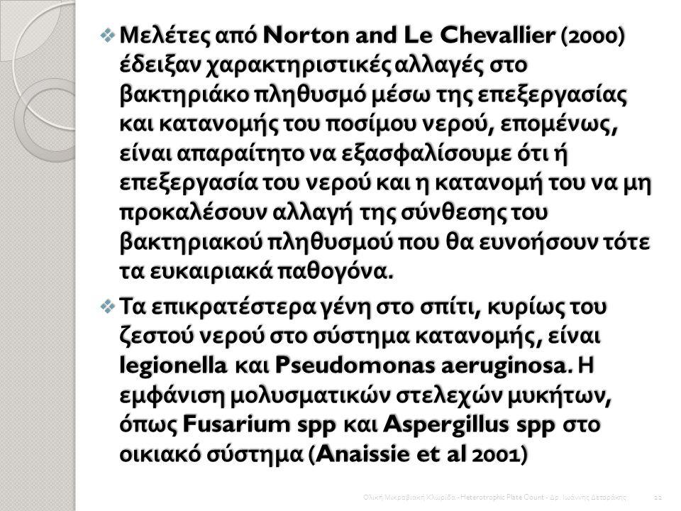 Μελέτες από Norton and Le Chevallier (2000) έδειξαν χαρακτηριστικές αλλαγές στο βακτηριάκο πληθυσμό μέσω της επεξεργασίας και κατανομής του ποσίμου νερού, επομένως, είναι απαραίτητο να εξασφαλίσουμε ότι ή επεξεργασία του νερού και η κατανομή του να μη προκαλέσουν αλλαγή της σύνθεσης του βακτηριακού πληθυσμού που θα ευνοήσουν τότε τα ευκαιριακά παθογόνα.