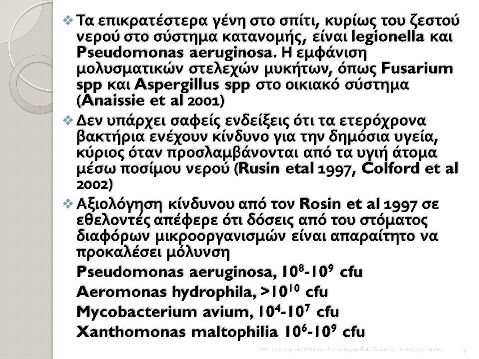 Pseudomonas aeruginosa, 108-109 cfu Aeromonas hydrophila, >1010 cfu