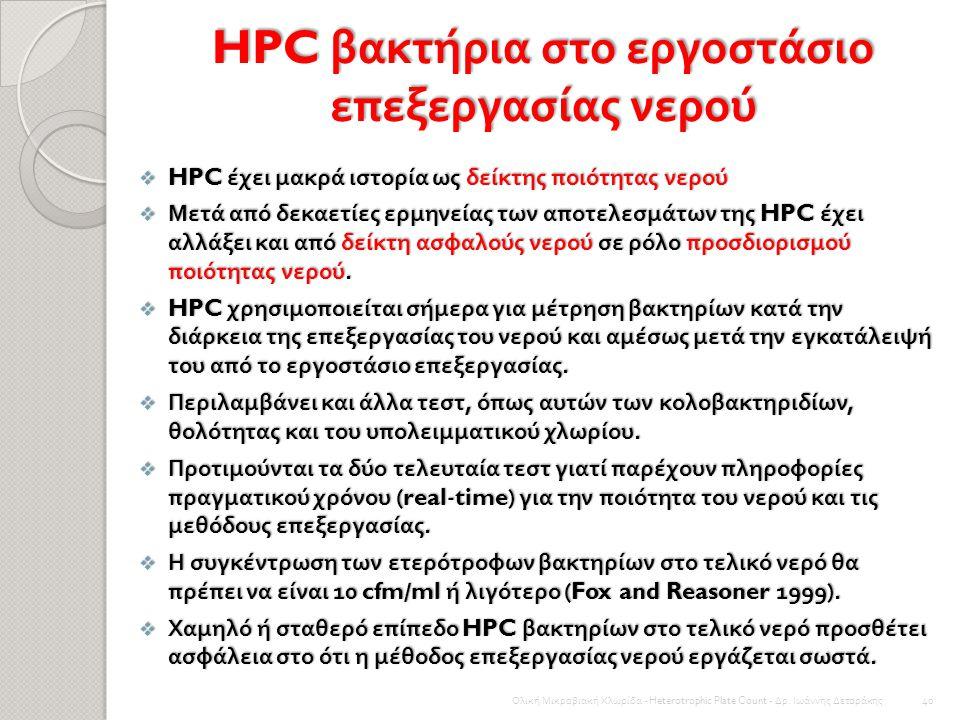 HPC βακτήρια στο εργοστάσιο επεξεργασίας νερού