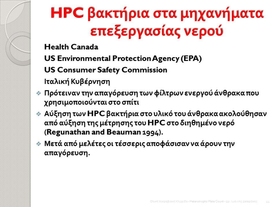 HPC βακτήρια στα μηχανήματα επεξεργασίας νερού