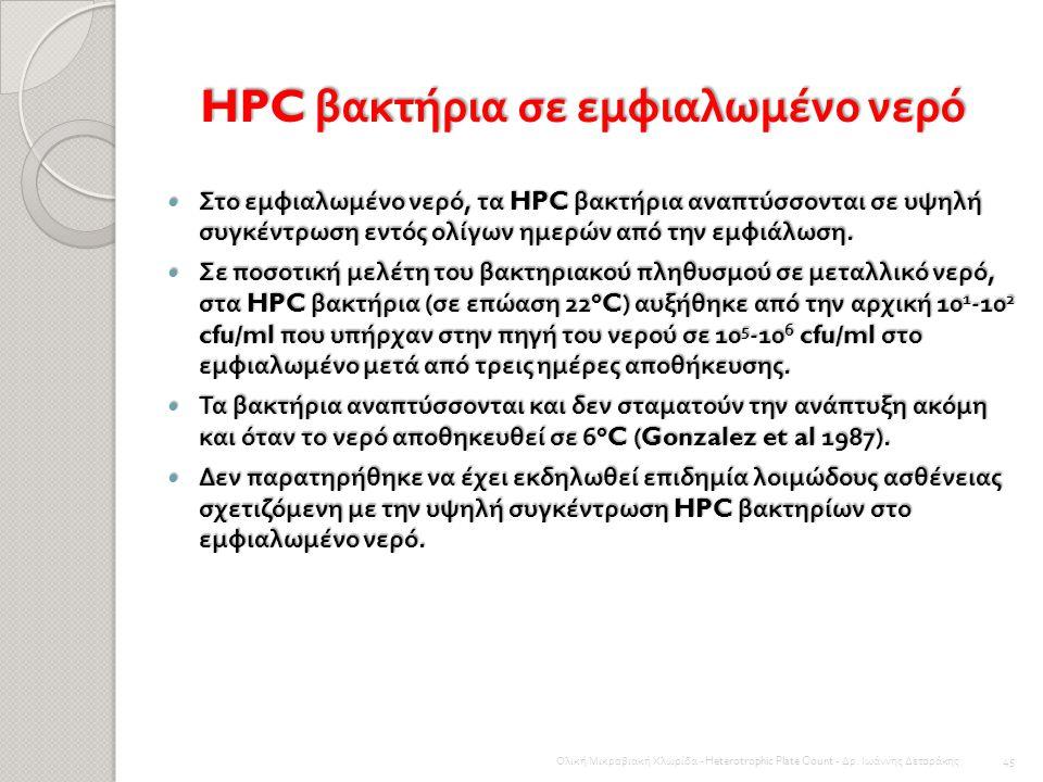 HPC βακτήρια σε εμφιαλωμένο νερό