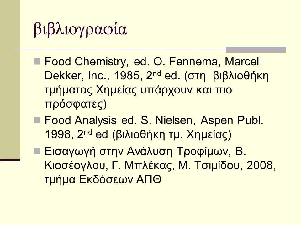 βιβλιογραφία Food Chemistry, ed. O. Fennema, Marcel Dekker, Inc., 1985, 2nd ed. (στη βιβλιοθήκη τμήματος Χημείας υπάρχουν και πιο πρόσφατες)