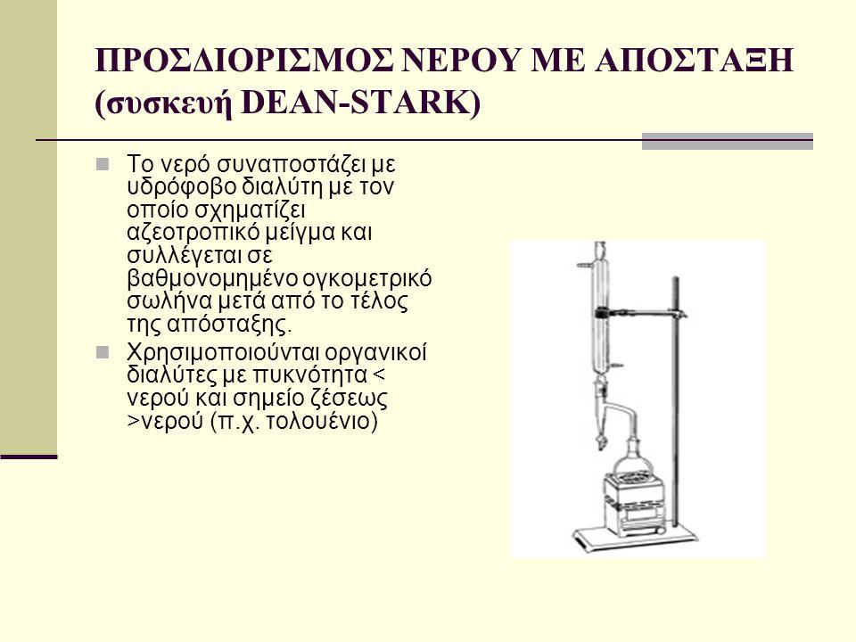ΠΡΟΣΔΙΟΡΙΣΜΟΣ ΝΕΡΟΥ ΜΕ ΑΠΟΣΤΑΞΗ (συσκευή DEAN-STARK)