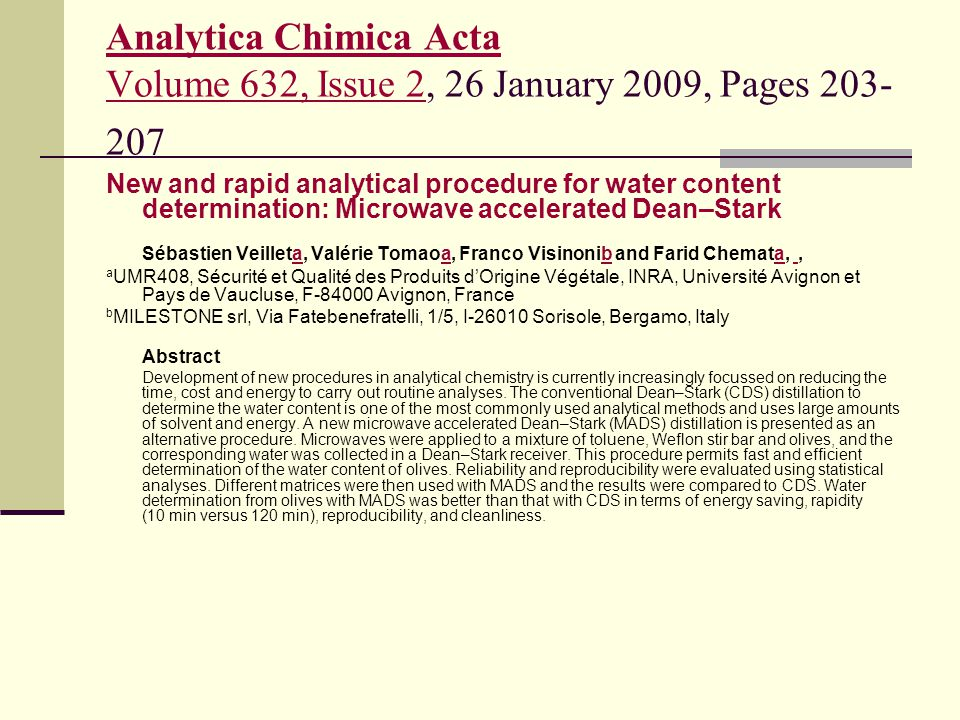 Analytica Chimica Acta Volume 632, Issue 2, 26 January 2009, Pages