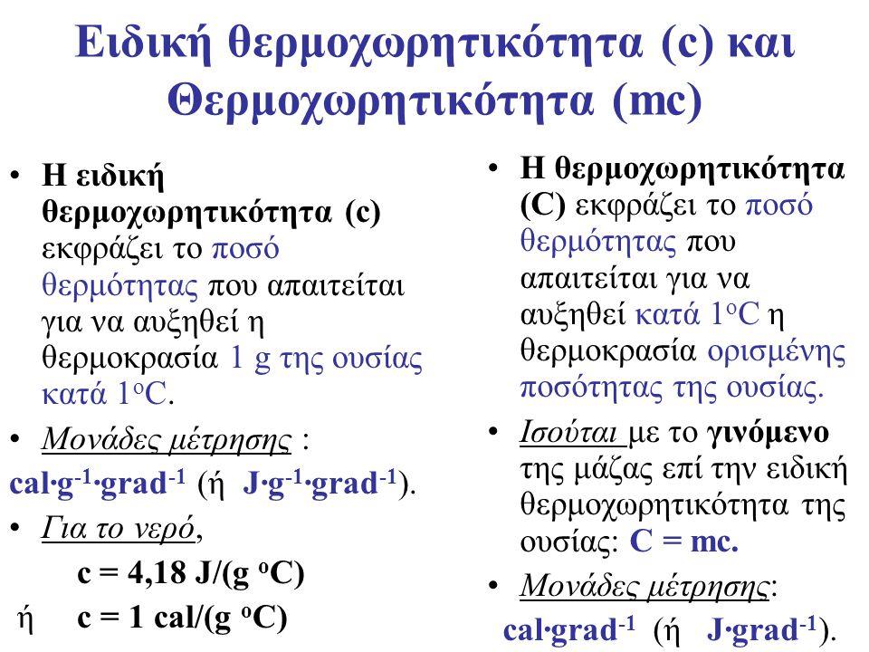 Ειδική θερμοχωρητικότητα (c) και Θερμοχωρητικότητα (mc)