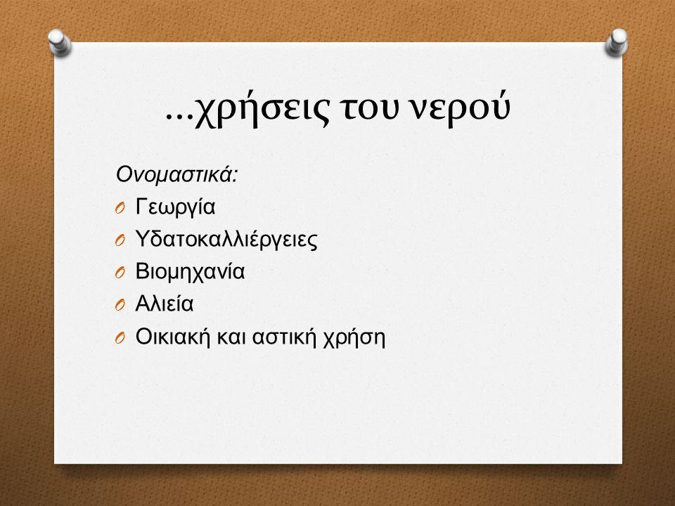 ...χρήσεις του νερού Ονομαστικά: Γεωργία Υδατοκαλλιέργειες Βιομηχανία