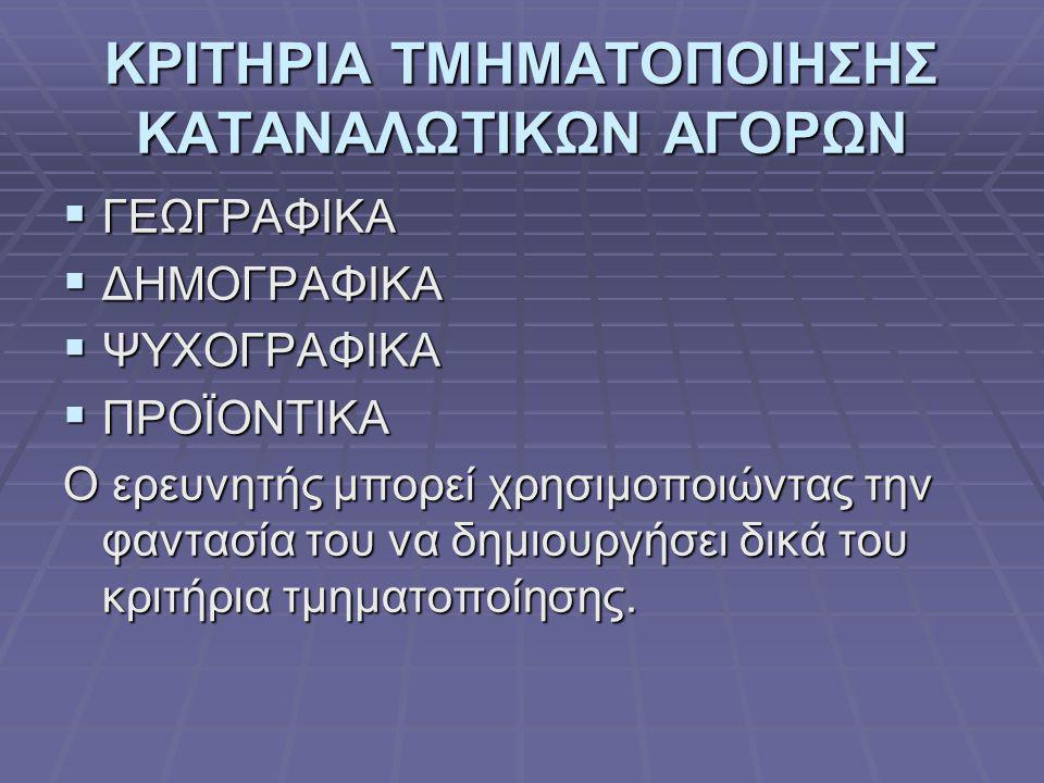 ΚΡΙΤΗΡΙΑ ΤΜΗΜΑΤΟΠΟΙΗΣΗΣ ΚΑΤΑΝΑΛΩΤΙΚΩΝ ΑΓΟΡΩΝ
