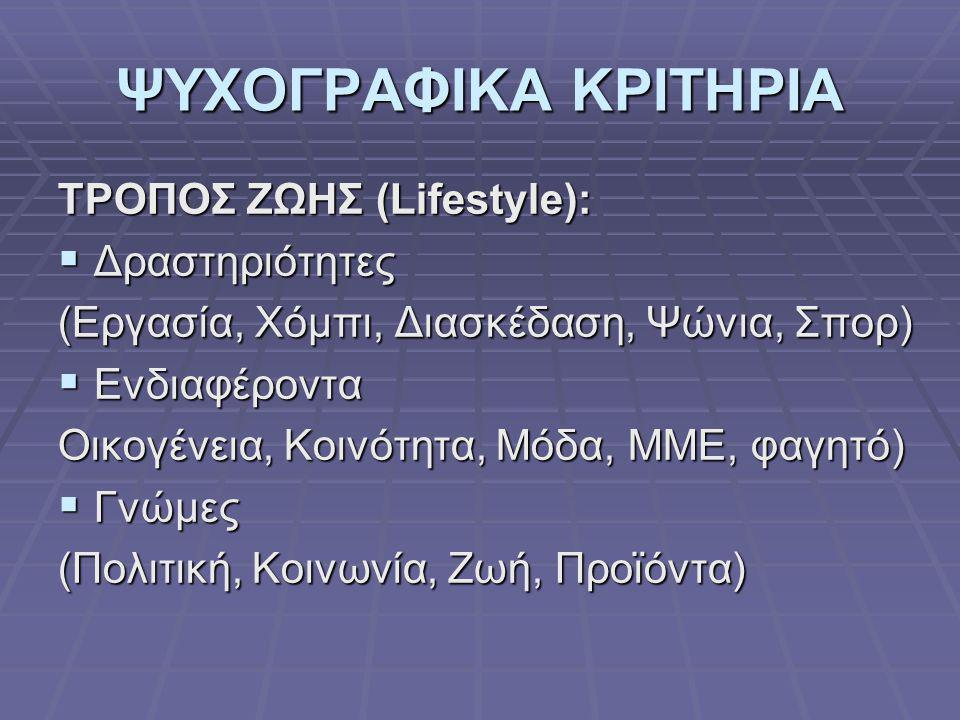 ΨΥΧΟΓΡΑΦΙΚΑ ΚΡΙΤΗΡΙΑ ΤΡΟΠΟΣ ΖΩΗΣ (Lifestyle): Δραστηριότητες