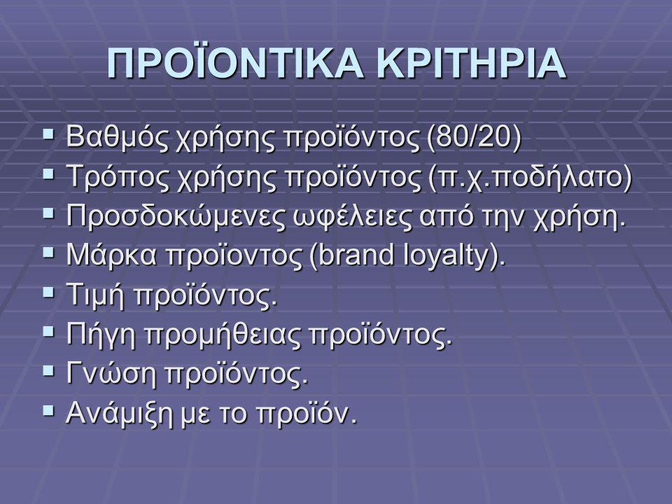 ΠΡΟΪΟΝΤΙΚΑ ΚΡΙΤΗΡΙΑ Βαθμός χρήσης προϊόντος (80/20)
