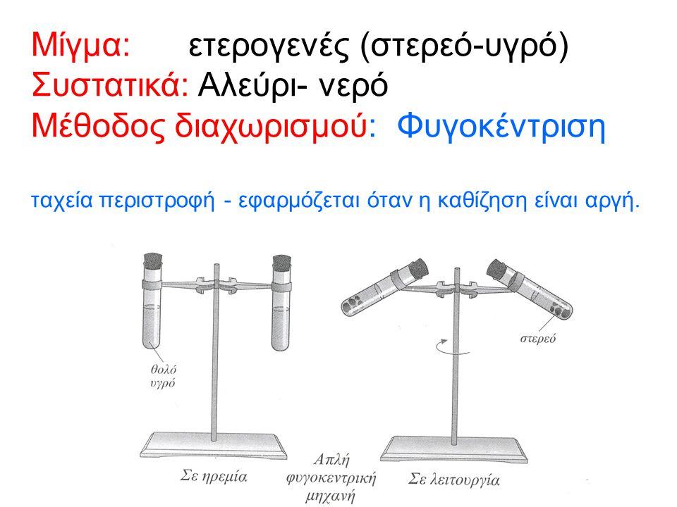 Μίγμα: ετερογενές (στερεό-υγρό) Συστατικά: Αλεύρι- νερό Μέθοδος διαχωρισμού: Φυγοκέντριση