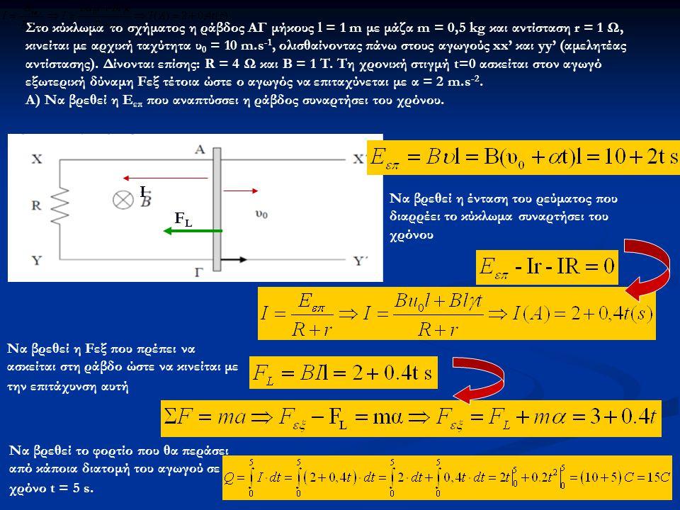 Στο κύκλωμα το σχήματος η ράβδος ΑΓ μήκους l = 1 m με μάζα m = 0,5 kg και αντίσταση r = 1 Ω, κινείται με αρχική ταχύτητα υ0 = 10 m.s-1, ολισθαίνοντας πάνω στους αγωγούς xx' και yy' (αμελητέας αντίστασης). Δίνονται επίσης: R = 4 Ω και B = 1 T. Τη χρονική στιγμή t=0 ασκείται στον αγωγό εξωτερική δύναμη Fεξ τέτοια ώστε ο αγωγός να επιταχύνεται με α = 2 m.s-2.
