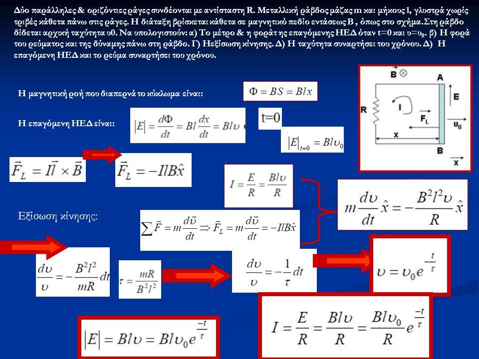 Δύο παράλληλες & οριζόντιες ράγες συνδέονται με αντίσταστη R