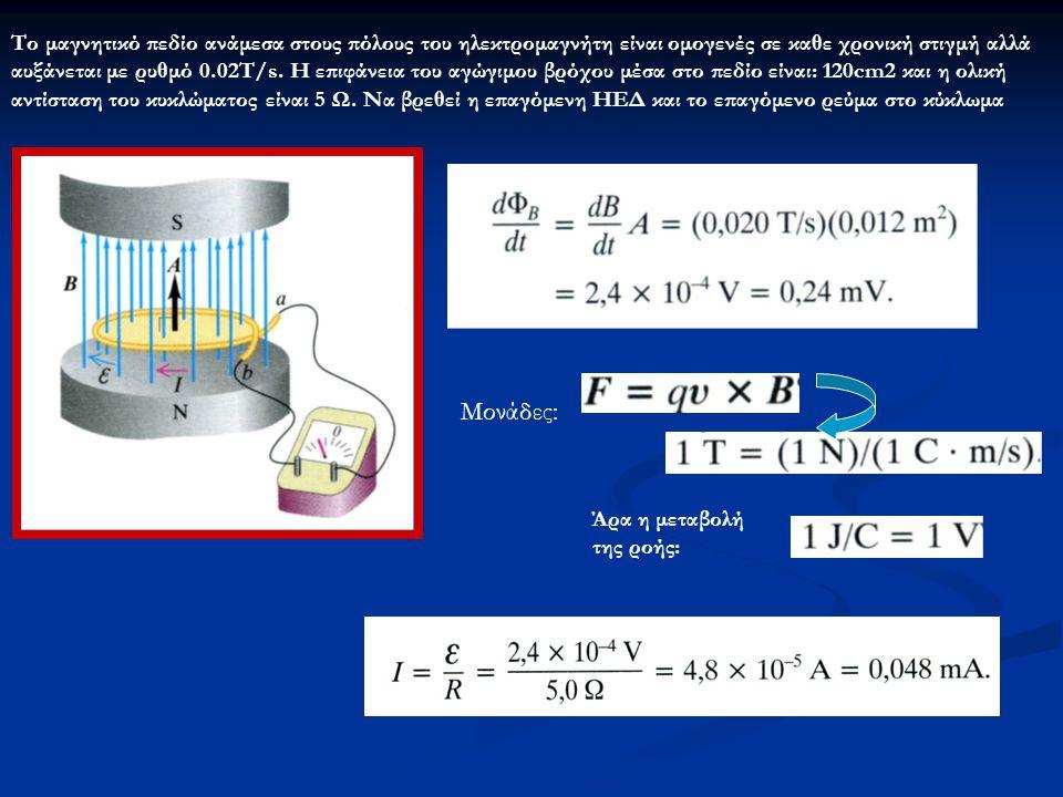 Το μαγνητικό πεδίο ανάμεσα στους πόλους του ηλεκτρομαγνήτη είναι ομογενές σε καθε χρονική στιγμή αλλά αυξάνεται με ρυθμό 0.02Τ/s. Η επιφάνεια του αγώγιμου βρόχου μέσα στο πεδίο είναι: 120cm2 και η ολική αντίσταση του κυκλώματος είναι 5 Ω. Να βρεθεί η επαγόμενη ΗΕΔ και το επαγόμενο ρεύμα στο κύκλωμα
