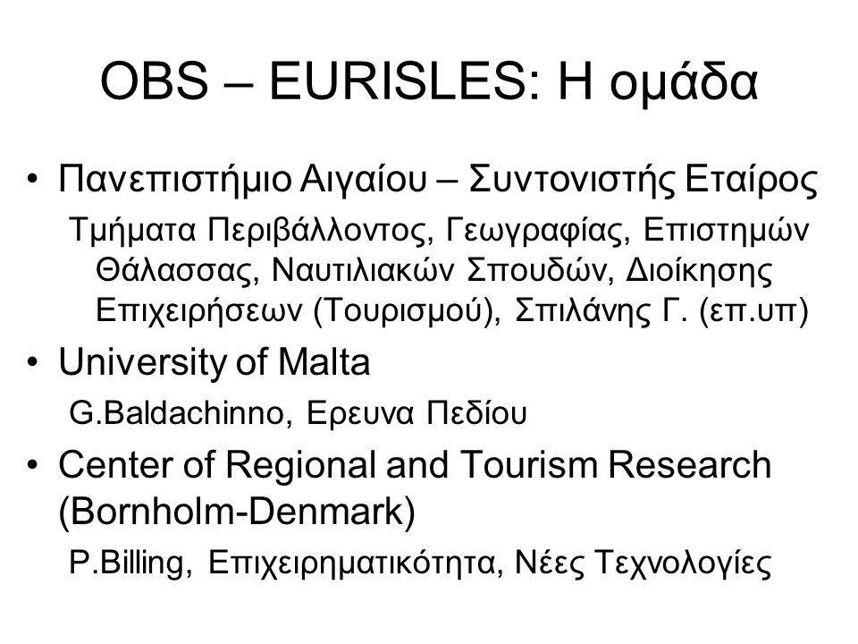 OBS – EURISLES: Η ομάδα Πανεπιστήμιο Αιγαίου – Συντονιστής Εταίρος
