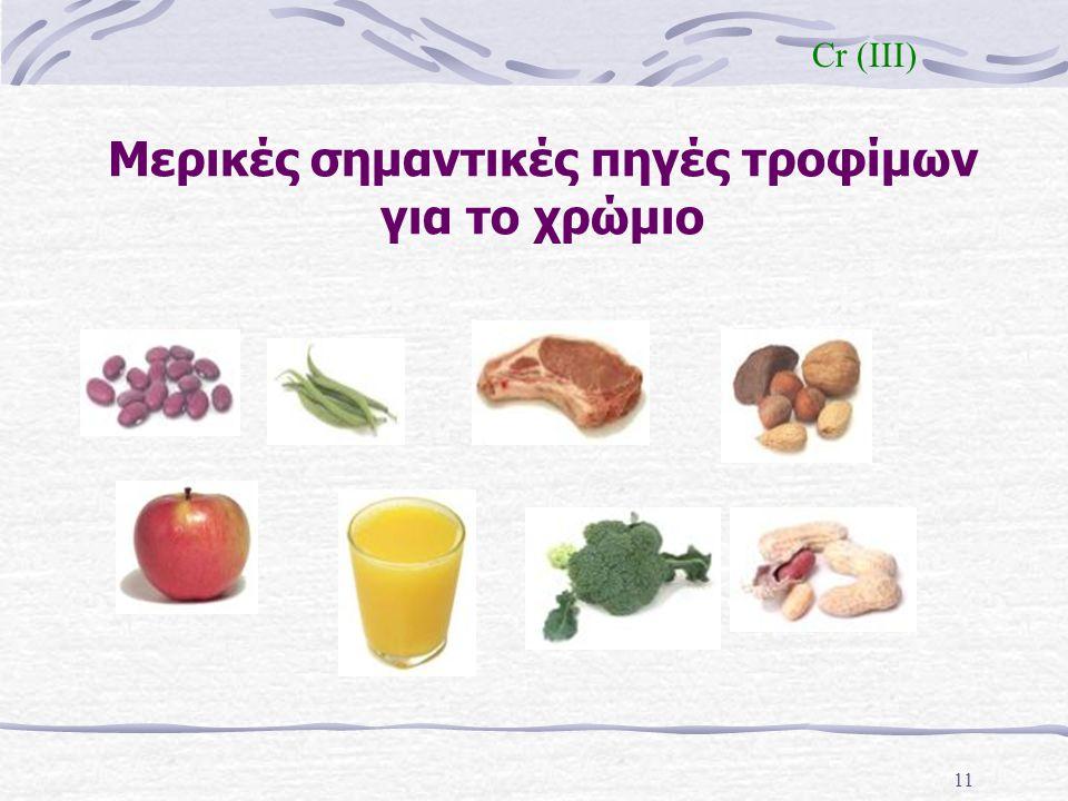 Μερικές σημαντικές πηγές τροφίμων για το χρώμιο