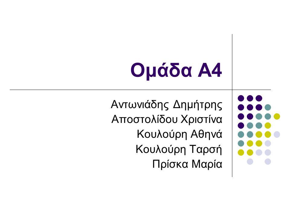 Ομάδα Α4 Αντωνιάδης Δημήτρης Αποστολίδου Χριστίνα Κουλούρη Αθηνά