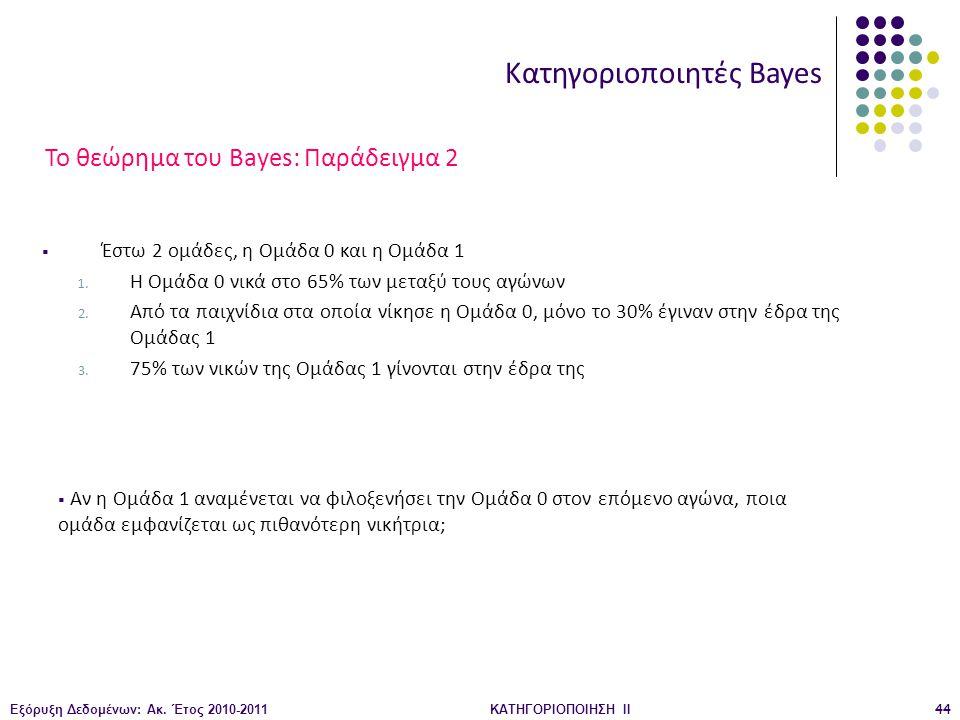 Το θεώρημα του Bayes: Παράδειγμα 2