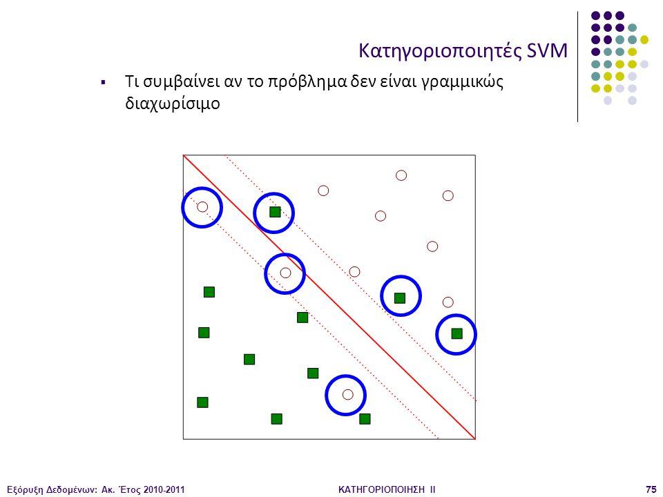 Κατηγοριοποιητές SVM Τι συμβαίνει αν το πρόβλημα δεν είναι γραμμικώς διαχωρίσιμο. Εξόρυξη Δεδομένων: Ακ. Έτος 2010-2011.