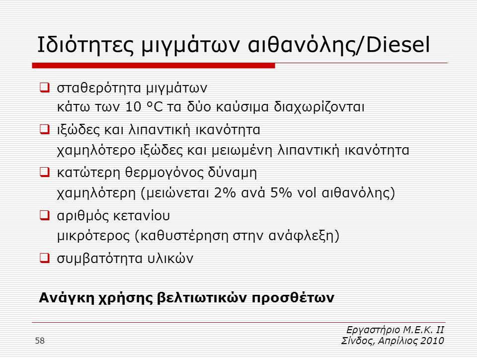 Ιδιότητες μιγμάτων αιθανόλης/Diesel