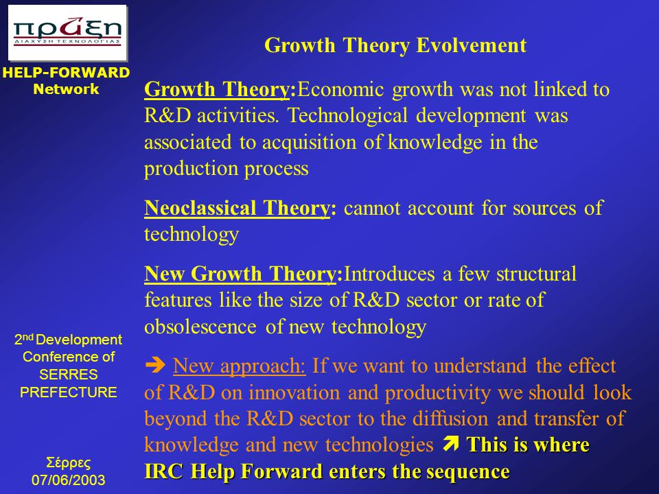 Growth Theory Evolvement