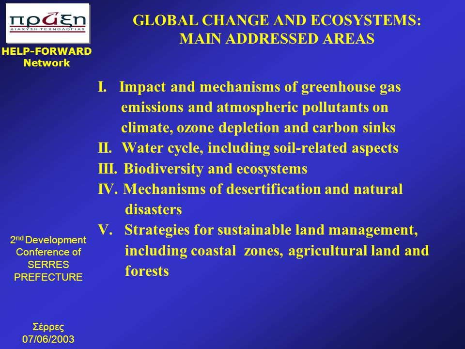 GLOBAL CHANGE AND ECOSYSTEMS: