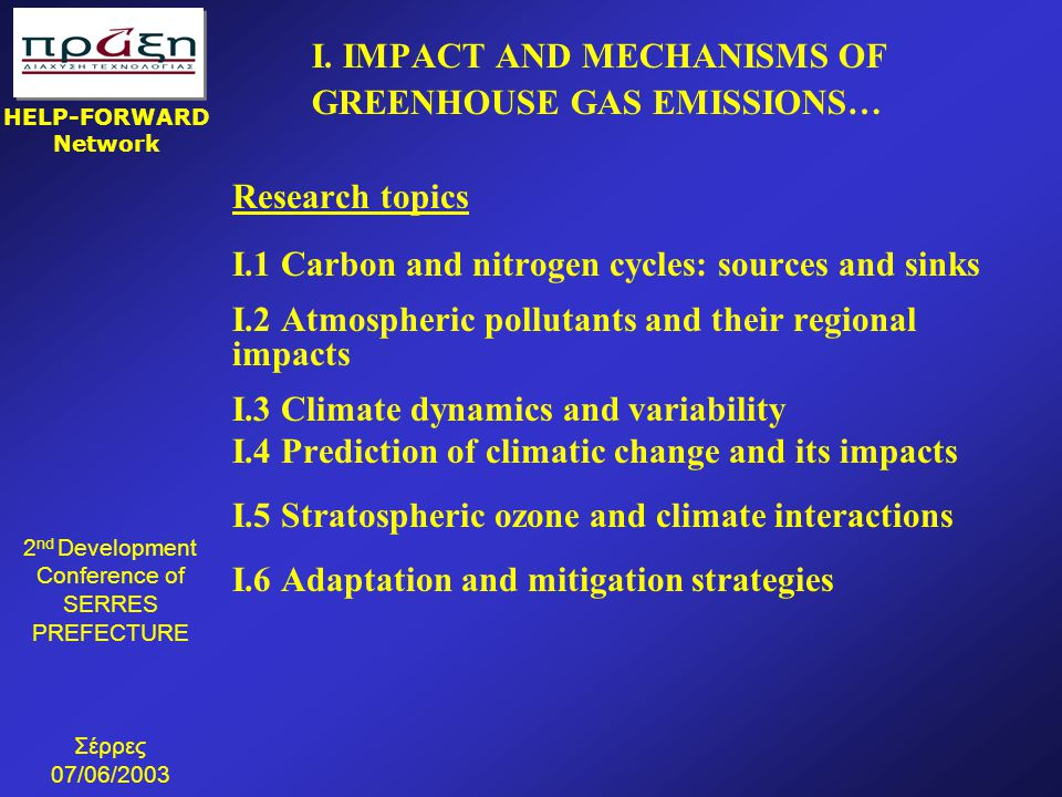 I. IMPACT AND MECHANISMS OF GREENHOUSE GAS EMISSIONS…