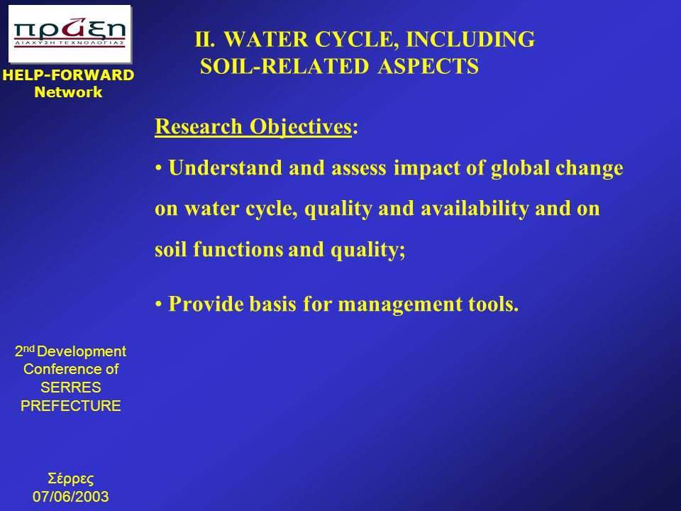 II. WATER CYCLE, INCLUDING SOIL-RELATED ASPECTS