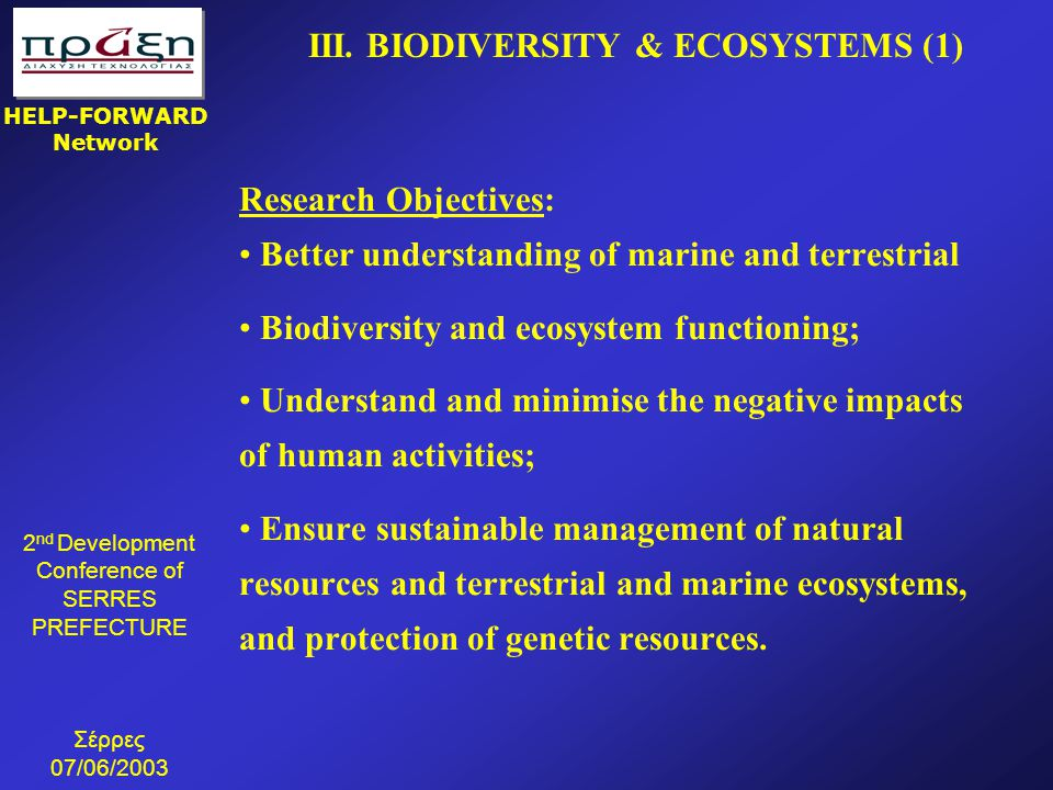 III. BIODIVERSITY & ECOSYSTEMS (1)