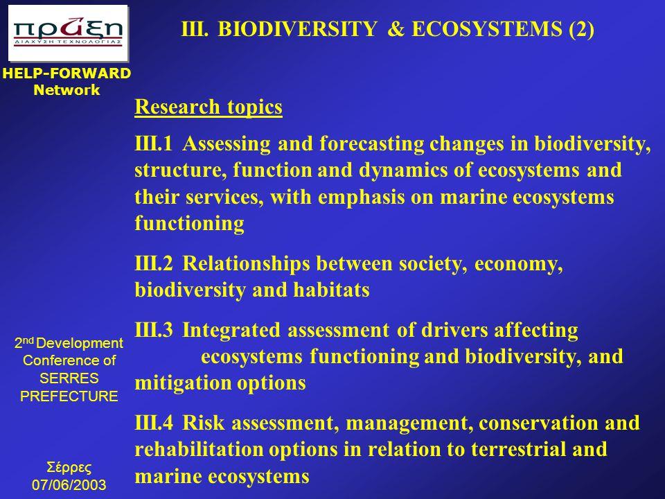 III. BIODIVERSITY & ECOSYSTEMS (2)
